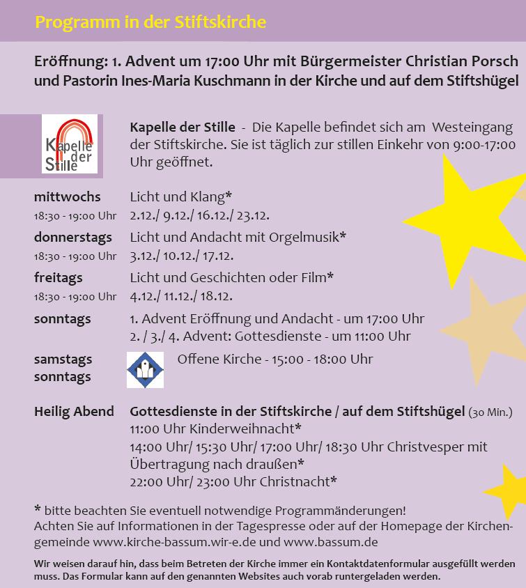 Programm in der Stiftskirche©Stadt Bassum